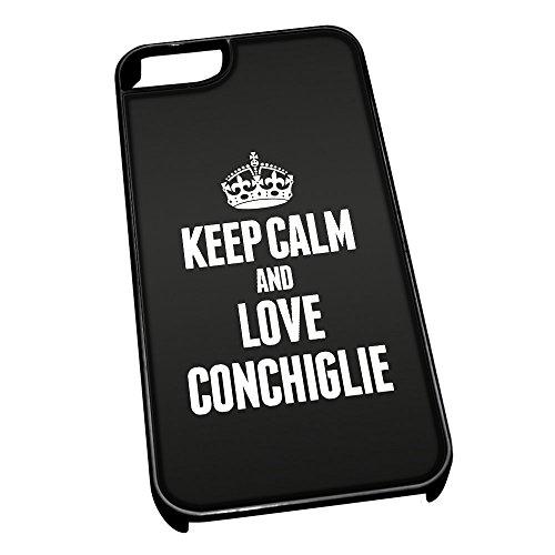 Nero cover per iPhone 5/5S 0988nero Keep Calm and Love conchiglie