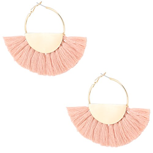 VK Accessories Semicircle Fan Shape Tassel Earrings Hoop Dangle Ear Drop Soriee for Women (Cream Pink) (Shape Fan Earrings)