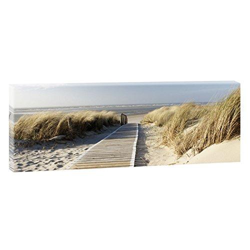Nordseestrand auf Langeoog | Panoramabild im XXL Format |Wandbild Poster Leinwandbild - Trendiger Kunstdruck auf Leinwand | 150 cm x 50 cm