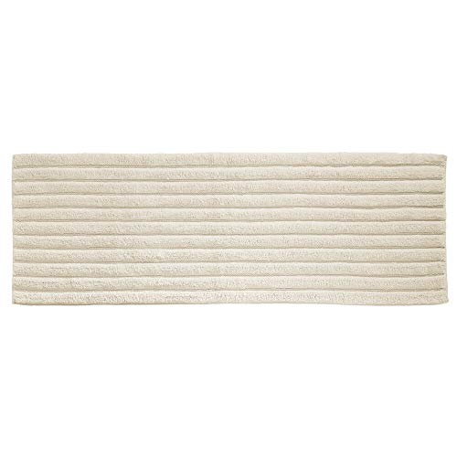 "mDesign Soft 100% Cotton Luxury Hotel-Style Rectangular Spa Mat Rug, Plush Water Absorbent, Ribbed Design - for Bathroom Vanity, Bathtub/Shower, Machine Washable - Long Runner, 60"" x 21"" - Ivory"