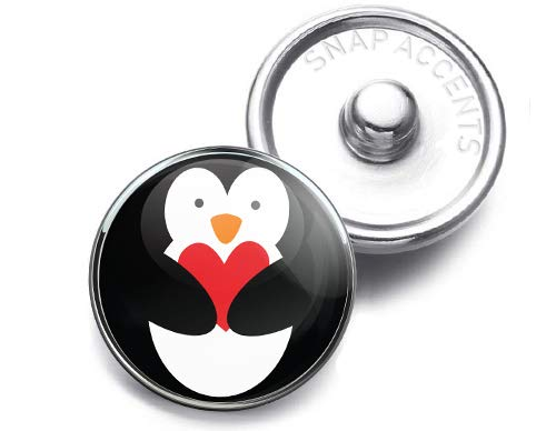 Choose a Color | Penguin Heart Love Snap Jewelry 18MM SnapAccents Charm Button -