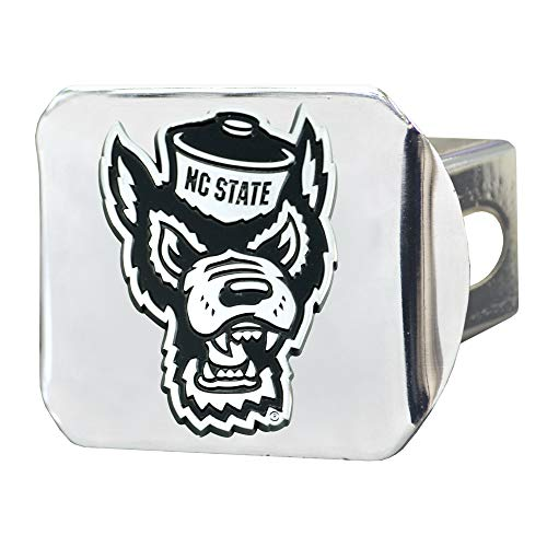 (FANMATS NCAA North Carolina State Wolfpack Hitch Cover - Chromehitch Cover - Chrome, Team Colors, One Sized )