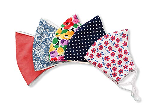 Stylish Cotton Face Mask with Filter Pocket, Handmade Floral Plaid design facemasks for girls, washer-friendly reusable 3 layers, Ready to SHIP, Pack of five