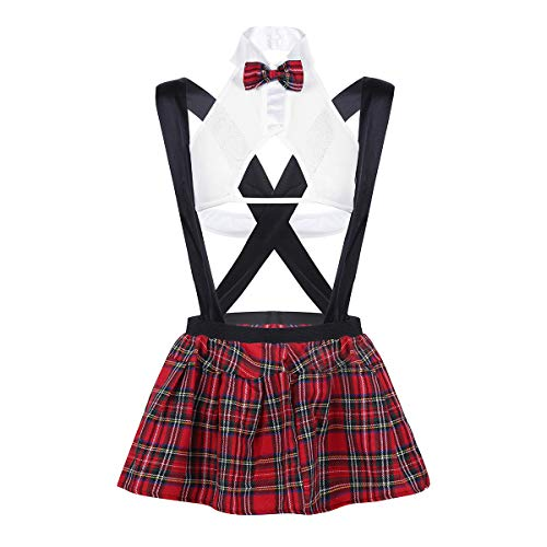 School Girl Outfit Cosplay Costumes Lingerie Set with Women Top Mini Plaid Skirt White -