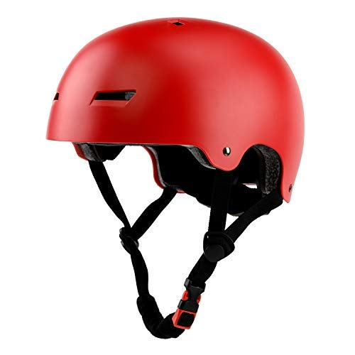 Ouwoer Kids/Adult Skateboard & Bike Helmet, CPSC Certified, Adjustable and Multi-Sport, from Toddler to Adult (Red)