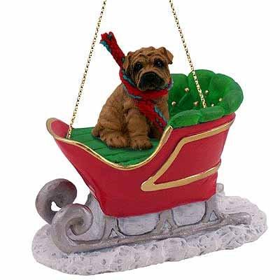 Shar Pei Sleigh Ride Christmas Ornament Brown - DELIGHTFUL!
