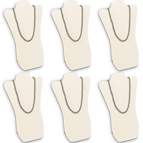Mooca 6 Pieces Beige Faux Suede Cover MDF Wood with Sturdy Cardboard Easel Necklace Display 8 5/8