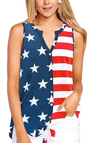 July 4th Women American Casual Blouse Summer Tie Front Sleeveless Loose V Neck Tank Top USA Flag -