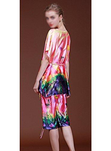 ABBY Pyjama classique en soie deux pièces verges en vrac Mme pyjama costume maison d'été