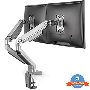 "Dual Arm Monitor Desk Mount Stand,Height Adjustable Full Motion Mechanical Spring Monitor Arm with C Clamp/Grommet Base Fits 17""-32"" LCD LED Computer Screen up to 17.6 lbs Per, Silver,by IMtKotW"