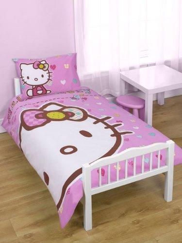 Hello Kitty 'Folk' 4 in 1 Junior Bedding Bundle (Duvet + Pillow + Covers)