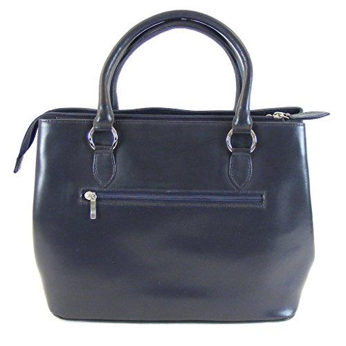 Pavini - Bolso de tela de Piel Lisa para mujer azul azul oscuro mittelgroß