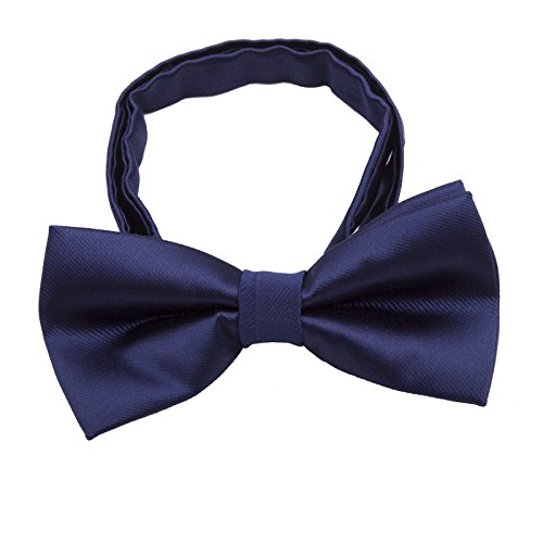 Silk Bow ties for Kids Boys - Adjustable Pre Tied Bowties for Toddler Baby (Dark Navy Blue) -