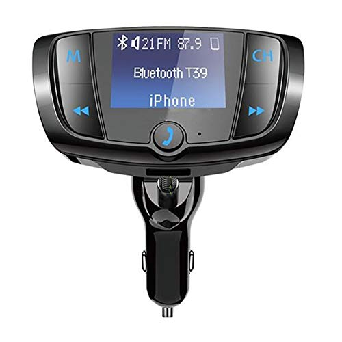 Price comparison product image Bluetooth FM Transmitter,  Buybuybuy Wireless Radio Adapter Hands-free Car Kit with 1.44 Inch LCD Display,  QC3.0 and Smart Dual USB Ports,  AUX Input / Output,  TF Card Mp3 Player