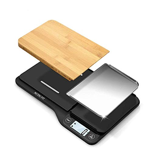 Super-Chef Food Scale with Removable Cutting Board & Tray - 3 in 1 Digital Kitchen Scale, LCD Display, 11lb 5kg, Easy for Cooking & Clean by Nutrifit (Measuring spoons & Batteries Included) (Super Scale Wood)