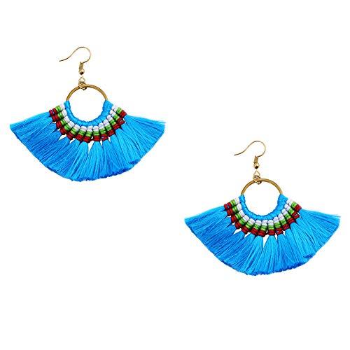Boho Tassel Earrings for Women (Blue) Artilady