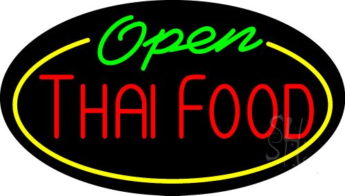 Thai Food Open Animated Clear Backing Neon Sign 17'' Tall x 30'' Wide by The Sign Store