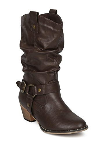 (Women Mid-Calf Western Style Rubber Sole Cowboy Boots with O-Ring Studded with Distressed PU Upper WD02 Brown 9)