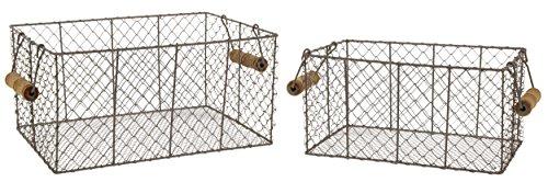 Rectangular Farmhouse (Park Hill Set of 2 Rectangular Metal Wire Baskets, 12