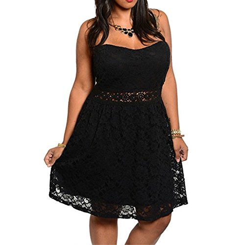 Lace Lined Little Black Dress - 844 - Plus Size Crochet Lace Strapless Cocktail Little Black Dress (USA Seller) (2X)