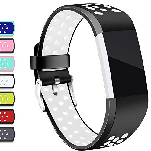 Hotodeal Compatible Fitbit Charge 2 Band, Classic Soft TPU Adjustable Replacement Accessory Bands Fitness Breathable Sport Strap Small Large Black White