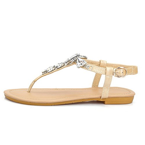 AllhqFashion Women's Solid PU Low Heels Split Toe Buckle Sandals apricot sKO5lNB7c