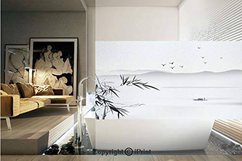 Decorative Privacy Window Film/Silhouette of Horizontal Mountains and the River with Small Vessel Solitude Theme Artwork/No-Glue Self Static Cling for Home Bedroom Bathroom Kitchen Office Decor Grey B