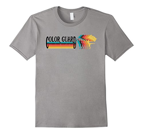 70s And 80s Style (Mens Retro 70s 80s Style COLOR GUARD Marching Band Rainbow TShirt 2XL Slate)
