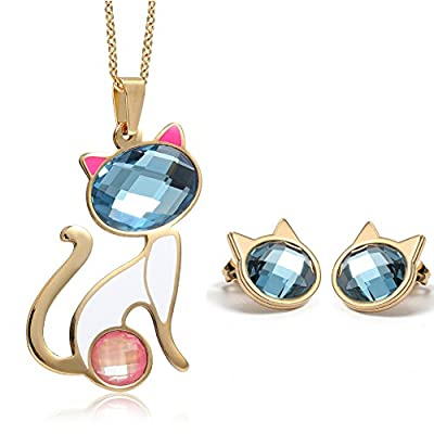 Top Womens Blue Crystal Cute Cat Shape Pendant Necklace Stud Earrings Purple Wedding Jewelry Set with Swarovski Crystals for sale