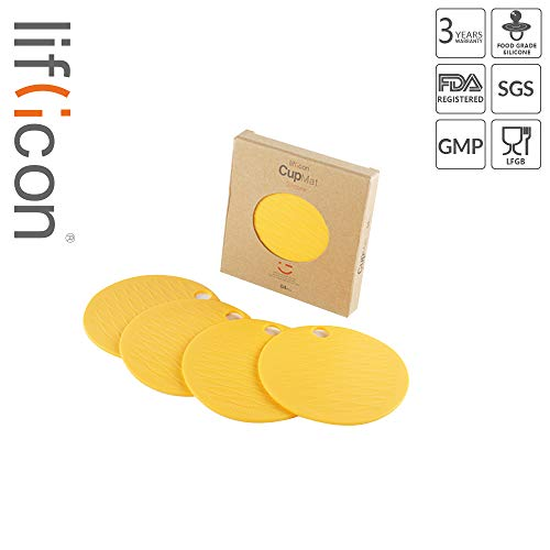 liflicon Non-Slip Premium Silicone Cup Mats Thick Durable Coasters BPA Free Placemat Insulation Hot Pads 4pcs-Yellow