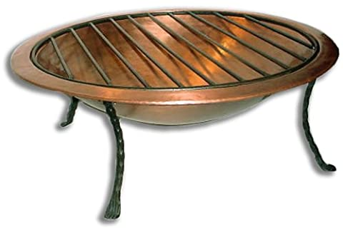 Deeco Consumer Products Royale Fire Pit, Copper (Cast Iron Fireplace Grate 27)