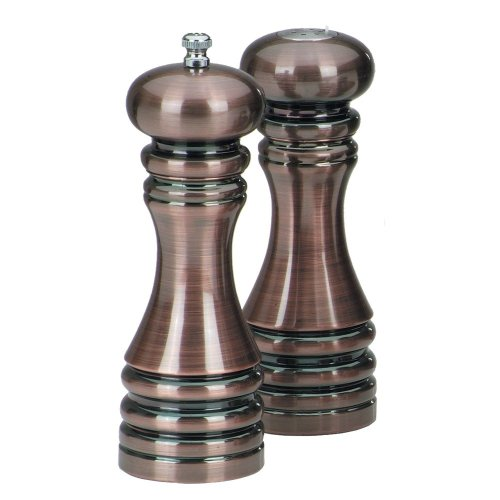 Chefs Salt And Pepper Set - Chef Specialties 7 Inch Burnished Copper Pepper Mill and Salt Shaker Set
