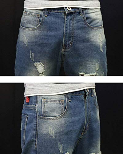 Allentati Slim Vintage Stile Da Semplice Jeans Uomo Fit Harem Denim Blau Destrutturati Stretch Pantaloni WT7HqzwS8q