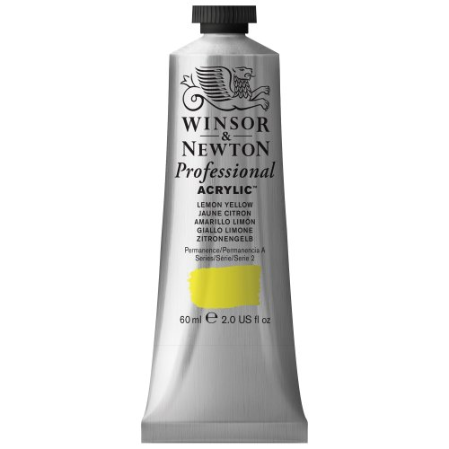 Winsor & Newton Professional Acrylic Color Paint, 60ml Tube, Lemon Yellow