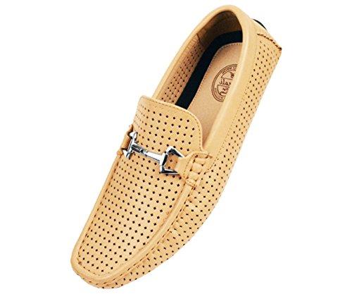 Amali Hommes Diamant Perforé Lisse Mocassins Conduite Chaussure Avec Argent Ornement Style Sagan Tan