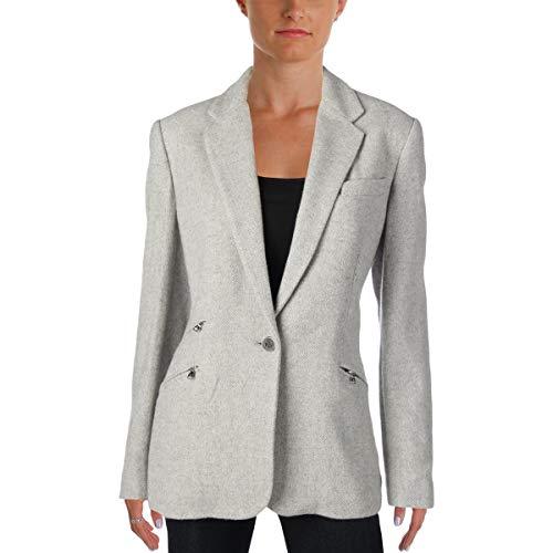 (LAUREN RALPH LAUREN Womens Atheana Tweed Woven One-Button Blazer Gray 10)