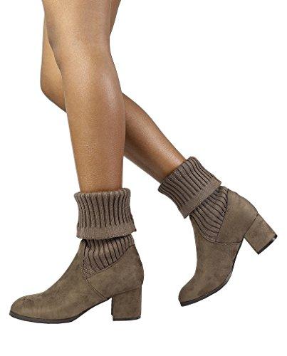 DREAM PAIRS Damen ANKLEG Chunky Heel Ankle Booties Khaki-s
