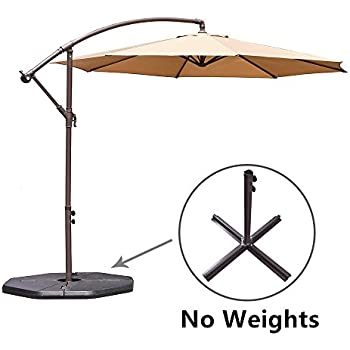 Le Papillon 10 Ft Offset Hanging Patio Umbrella Aluminum Outdoor Cantilever  Umbrella Crank Lift,