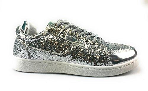 Forever Link Damen Peggy 44 Glitter Metallic gesteppte Schnürschuhe Low Top Fashion Sneaker Silber - 49