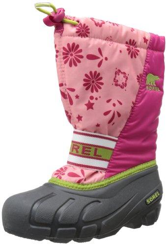 Sorel Youth Cub Graphic 13 Winter Boot, Coral Pink/Green Tea, 7 M US Big Kid
