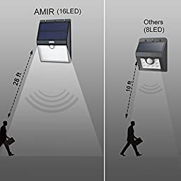 Amir Solar Motion Sensor Lights, 16 LED Outdoor Bright Light - Detector Activated /Dusk to Dawn Dark Sensing Auto On/off - Waterproof Security Lighting