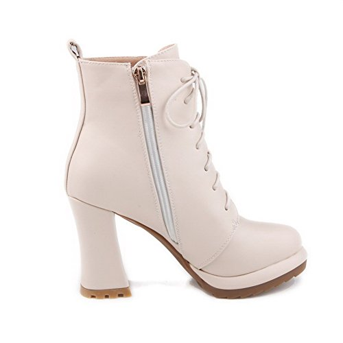 Allhqfashion Dames Hoge Hakken Lage Top Solide Rits Laarzen Met Metalen Stuk, Beige, 42