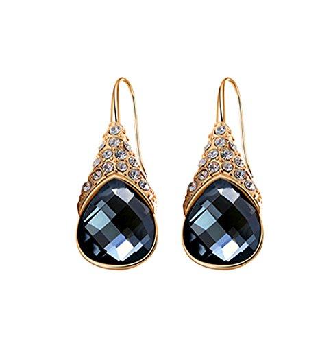 Welwel Women's Dark Grey Crystal Dangle Earrings With Swarovski Crystal Elements Daily Wearing Earrings