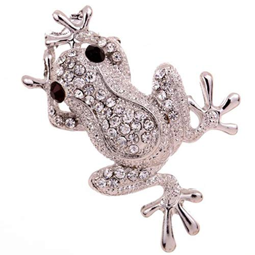 (ink2055 Silver Plated Frog Shape Carve Shining Rhinestone Decor Brooch Pin for Women Girls Clothes Decor Jewelry Gift )