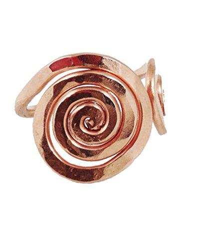 Elaments Design Solid Copper Ring Adjustable Top Spiral Design Size 6 Hand - Design Ring Copper