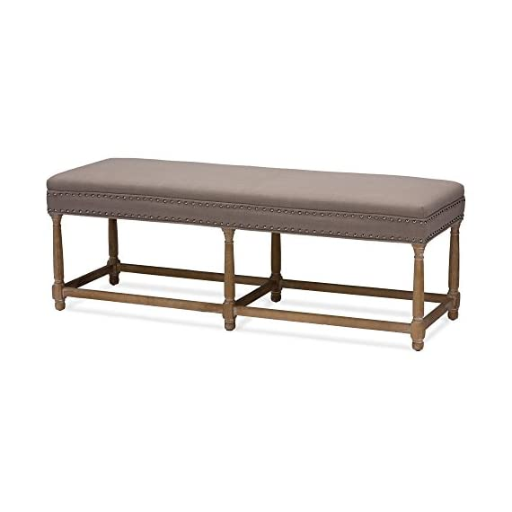 Baxton Studio Nathan Console Bench - Dimensions: 56L x 18.25W x 19.75H in. Oak wood frame in distressed finish Beige linen upholstery over polyurethane foam - entryway-furniture-decor, entryway-laundry-room, benches - 41cU 95lKZL. SS570  -