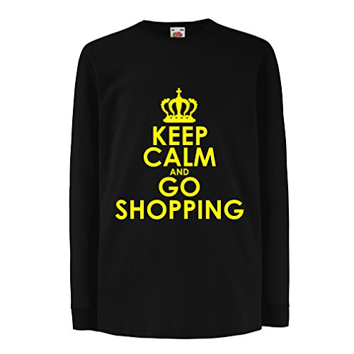 lepni.me Boys/Girls T-Shirt Keep Calm and Go Shopping! Funny Grocery Bag Lifestyle Outfits (3-4 Years Black Yellow)
