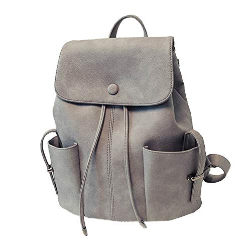 YEZIJIN Women's Solid Color Pleated Backpack College Style Duffel Handbag Shoulder ()