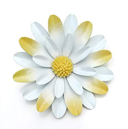 - Large White and Yellow Metal Enamel Flower Brooch Daisy