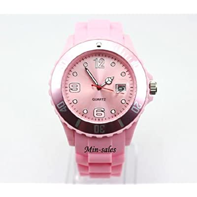 AccessoriesBySej 24 Colours - Light Pink Quartz Rubber Silicone Sports Watch Unisex With Date